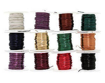 12 Spools or Assorted Colors Craft Beading Artistic Wire 22 Gauge 5 Yards Each (Free Shipping USA)