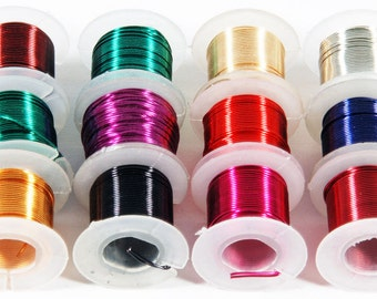 12 Spools or Assorted Colors Craft Beading Artistic Wire 24 Gauge 5 Yards Each (Free Shipping USA)