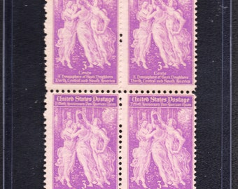 1940 50th Anniversary Pan-American Union - Four Unused Postage Stamps Vintage - The Three Graces
