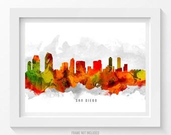 San Diego California Skyline Poster, San Diego Cityscape, San Diego Art, San Diego Decor, Home Decor, Gift Idea 15