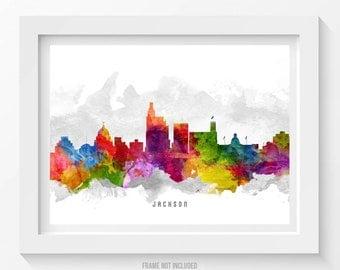 Jackson Mississippi Skyline Poster, Jackson Cityscape, Jackson Art, Jackson Decor, Home Decor, Gift Idea 13