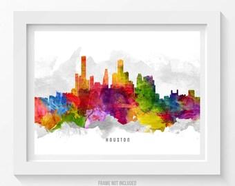 Houston Skyline Poster, Houston Cityscape, Houston Print, Houston Art, Houston Decor, Home Decor, Gift Idea, USTXHO13P