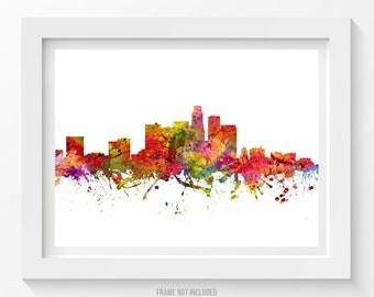 Los Angeles Skyline Poster, Los Angeles Cityscape, Los Angeles Print, Los Angeles Art, Home Decor, Gift Idea 08