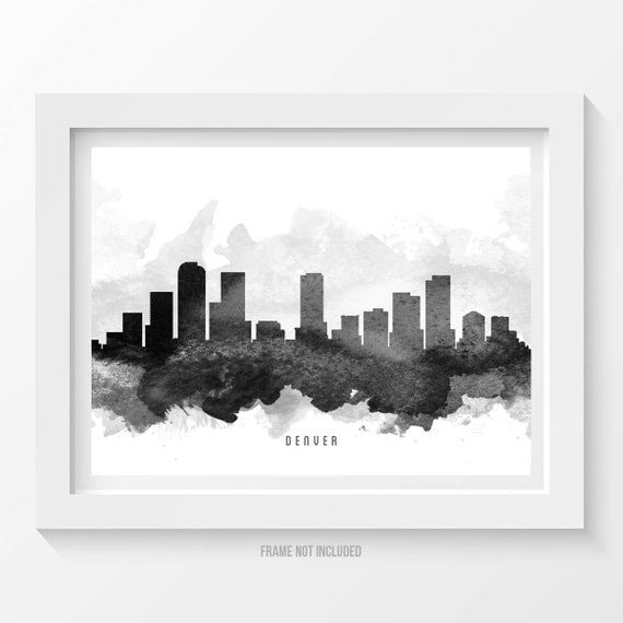 Denver Colorado Skyline Poster Denver Cityscape Denver