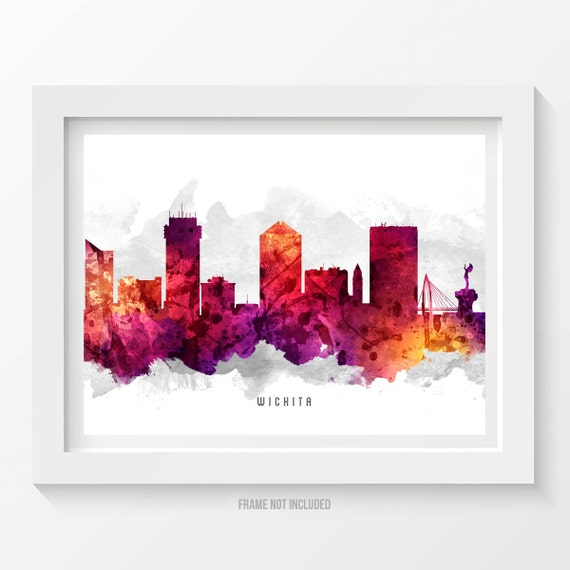 home decor stores in wichita ks wichita kansas skyline poster wichita cityscape wichita 13372