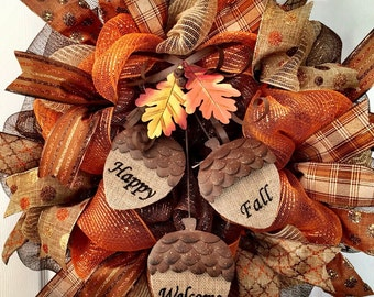 Limited quantities!! Decomesh Fall wreath, acorn wreath, happy fall, welcome wreath, autumn wreath, fall decor, thanksgiving wreath, fall me