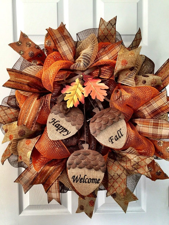 Limited quantities!! Decomesh Fall wreath, acorn wreath, happy fall, welcome wreath, autumn wreath, fall decor, thanksgiving wreath, fall me