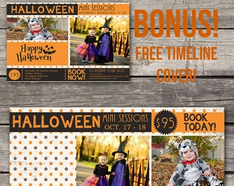 Halloween Mini Session Template - Photoshop Template for Photography - Facebook Cover - 103
