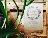 boho woodland wedding invitation // THE WOODLAND // floral wreath // redwood branches pinecones ferns forest // kraft // DEPOSIT