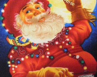 Western Cowboy Christmas Fabric~By the yard~Elizabeth Studios~Santa~reindeer~Texas