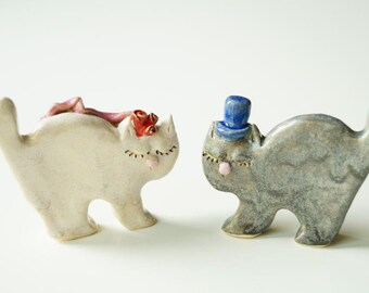 Wedding Cake Topper, Cat Wedding Cake Topper, Cat Cake Topper, Wedding Cake Decor, Ceramic Cat Couple, Cake Topper by Her Moments