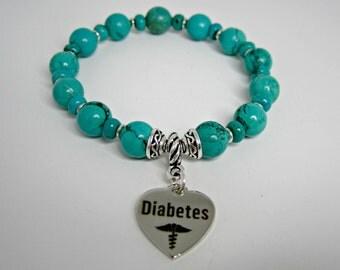 Diabetic Awareness Bracelet, Diabetic Medical Bracelet, Diabetes Turquoise, Diabetes I.D. Bracelet, Diabetes Charms, Medical Bracelet