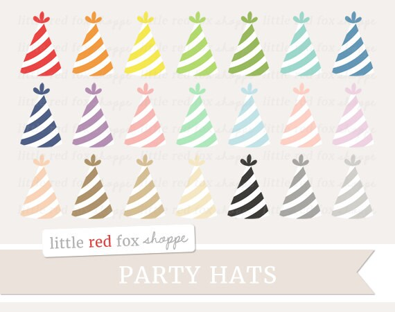 Party Hat Clipart Birthday Clip Art Stripe Kids Favor Object Labels Shape Tag Cute Digital Graphic Design Small Commercial Use