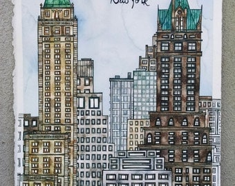 NEW YORK USA Original 11.25x15.25 Ink and Watercolor Painting