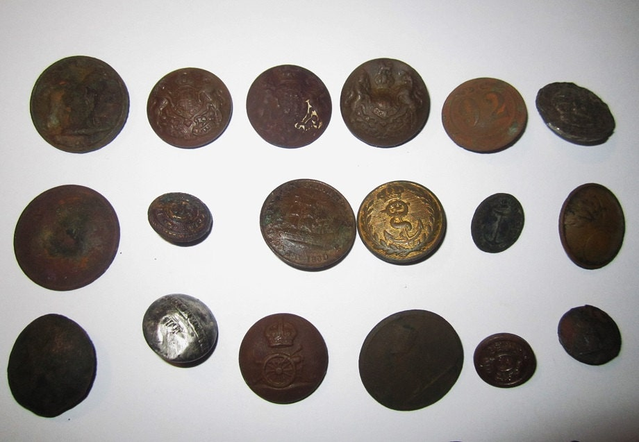Antique British Military Buttons Army And Navy By
