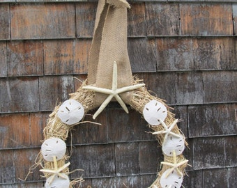 Starfish  Sand dollar burlap ribbon