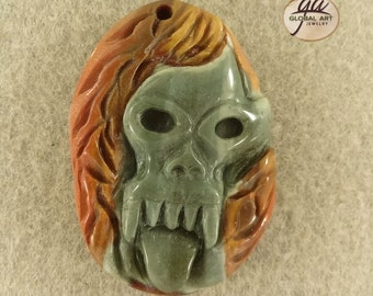EA02436# Stunning 100% Natural Hand Carved Cameo Skull Succor Creek Jasper  Pendant Bead