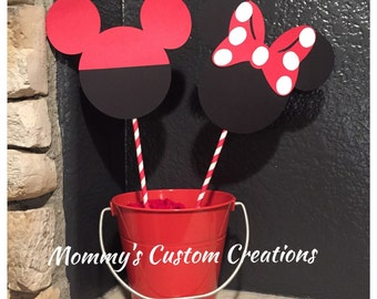 MICKEY AND MINNIE centerpiece, Minnie Mouse party, Mickey Mouse party, disney party, disney centerpiece