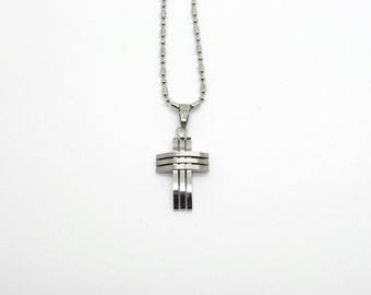 Stainless Steel Cutout Cross Pendant with Ball Bead Chain.Biker Cross.Biker pendant.