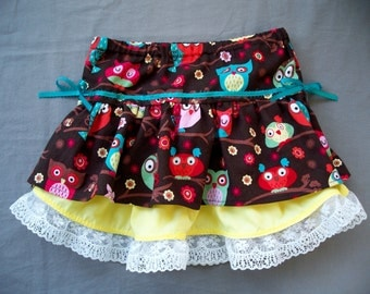 Little Girl's Owl Ruffle Skirt, 3t