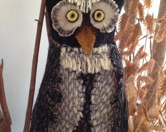 Handmade Wool Halloween Owl Decoration