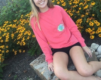 Monogrammed Lilly Pulitzer Patch Comfort Colors Pocket T-shirt