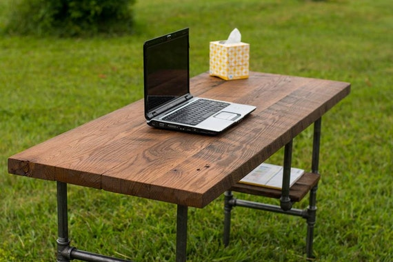 "Computer Desk, Reclaimed Wood Table, Rustic, Solid Oak W/ 28"" Black ..."