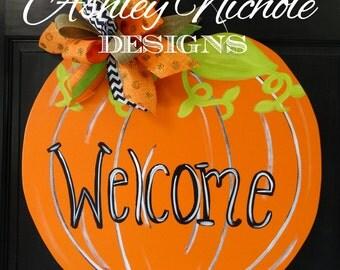 Welcome Pumpkin Door Hanger, Door Decoration, Whimsical Pumpkin, Fall Decor, Fall Wreath, Wooden Pumpkin