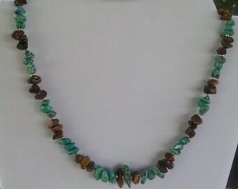 Turquoise/ Tiger Eye Necklace and bracelet set