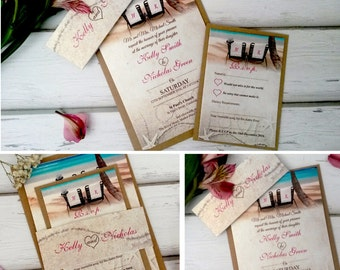Personalised Beach Wedding Invitations With RSVP Card & Brown Kraft Envelopes