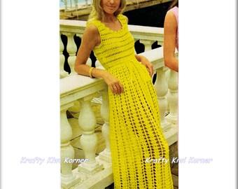 Crochet Vintage-Inspired Sleeveless Empire Waist Maxi Dress -  Made to Order 15% Discount