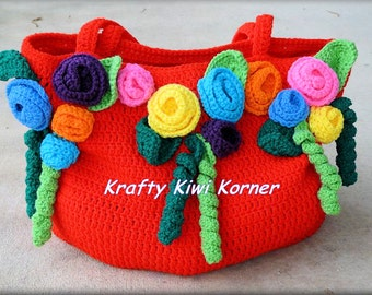 Crochet Tote/Market/Hand Bag Embellisehd with Flowers -  Made to Order 15% Discount