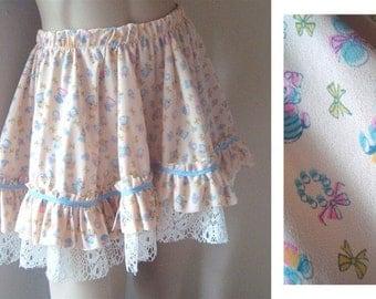 Vintage Kitten Petticoat Skirt, Petty coat skirt, Country chic skirt, Vintage kitsch skirt