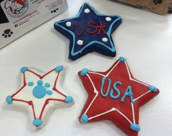 USA Stars Gourmet Decorated Dog Treats 3-Pack