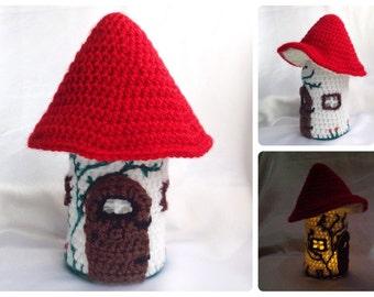 Toadstool Fairy House Jar Light - Crochet PDF Pattern