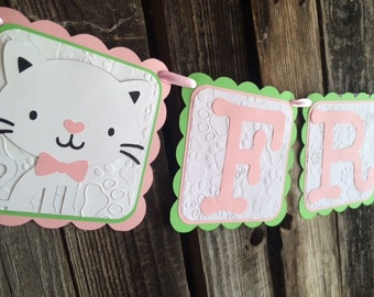 Kitten Cat Party Banner - Birthday Party, Party Decorations, Custom Named Banners
