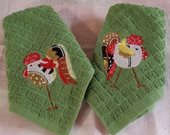 A Pair of Embroidered Rooster Dishcloths