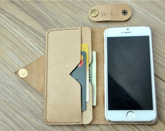 Personalized Leather iPhone 6 Wallet / Women's or Men's Wallet / iPhone 6 Plus Case Wallet, Light Cream Phone Case, G34