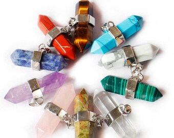 10 Crystal Column Pendant. Wholesale Beads for  DIY Necklaces, Birthstone Jewelry Making,9x39mm. Choose Your Stone