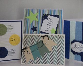 4 Masculine Birthday Cards.  Happy Birthday Card Assortment Set for Men.  Handmade Birthday Greeting Cards.  Teen Boys Birthday Cards