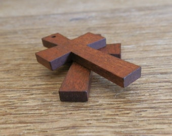 Small Wooden Cross Pendant / Charm 2pc