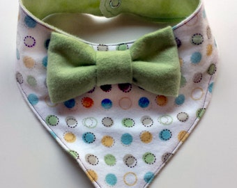 Polka Dot Baby Bandana Bib - Dot Bowtie Bib - Bibdana - Dribble Bib - First Birthday Gift - Unique Baby Shower Gift - Hipster Baby Bib