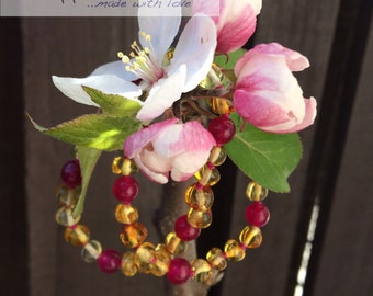 Lemon Baltic Amber and magenta jade childrens necklace