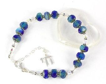 Chai Bead Bracelet | Hanukkah Jewerly For Her | Bat Mitzvah Gift | Adjustable Jewish Bracelet | Judaica Jewelry | Solana Kai Designs