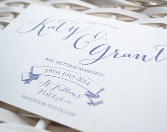 Save the Date - Personalised Purple Calligraphy Wedding Save the Date Postcard - Monogram, Calligraphy & Banner Design