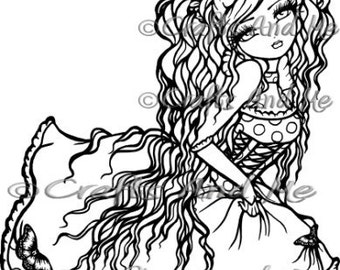 Digital Stamp - Instant Download - Annabelle - Fantasy Line Art for Cards & Crafts by Exclusive Artist Hannah Lynn for Crafts and Me