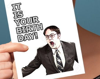 Funny Birthday Card | The Office Dwight Schrute Birthday Card | anniversary bday congratulations wedding I love you pop culture boyfriend