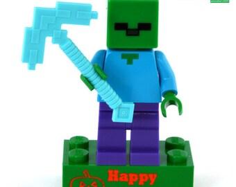 Personalized LEGO® brick HALLOWEEN +minifigure MINECRAFT brick or treat engraved