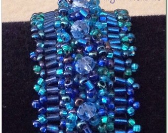 Clearance! Beaded Bracelet. Beaded Jewelry. Beaded Embroidered Blue Bracelet.
