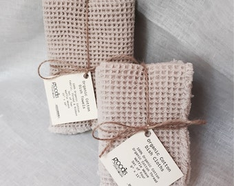 Organic Cotton Waffle Weave Dish Towels and Dish Cloths - 1 Set of Each